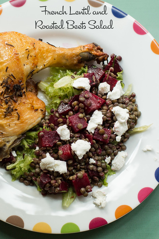 French Lentil Roasted Beets Salad - easy and so delicious with roasted beets and hints of rosemary!