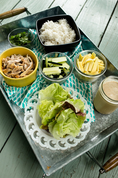 Chicken, Rice, and Mango Lettuce Wraps