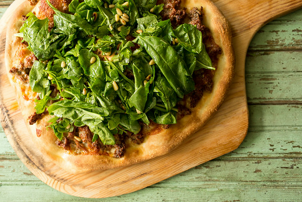 Harissa Lamb and Spinach Pizza - Amazing! at Sidewalk Shoes