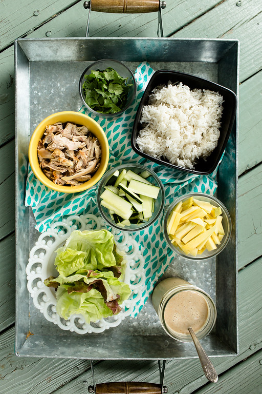 Chicken, Rice and Mango Lettuce Cups