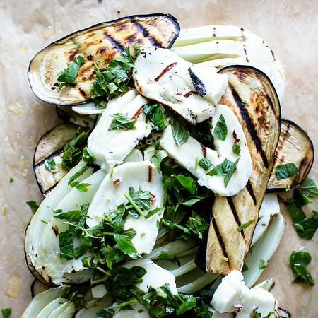 Grilled Eggplant and Mint Salad | Sidewalk Shoes