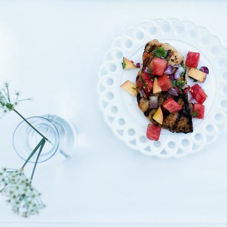 Marinated Grilled Chicken with Watermelon Jalapeño Salsa