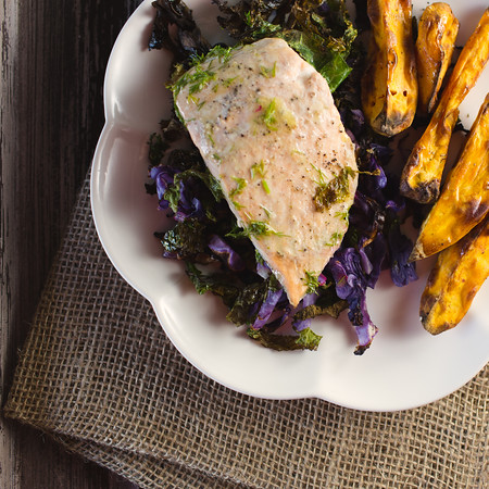 Salmon Roasted with Kale and Cabbage