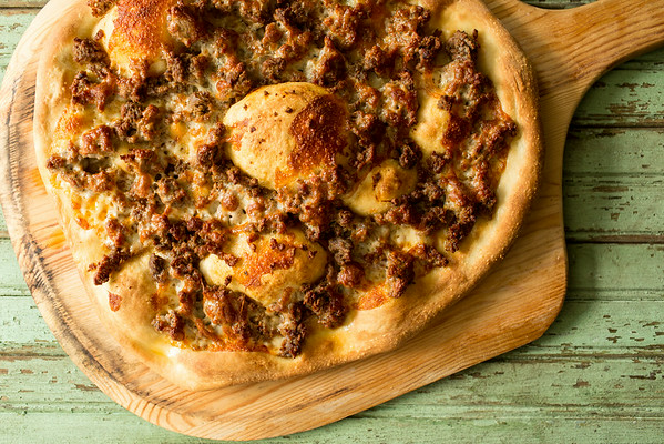 Harissa Lamb and Spinach Pizza | Sidewalk Shoes