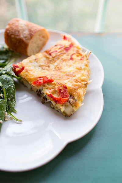 artichoke, potatoe and chorizo tortilla