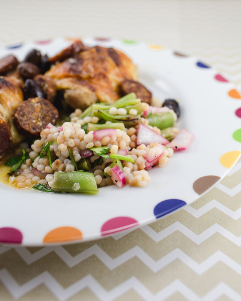 Green Beans and Israeli Couscous Salad with Pickled Red Onions