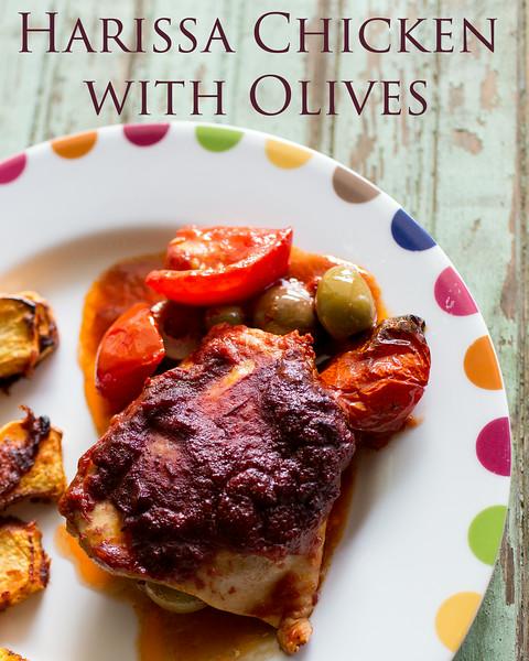 Harissa Chicken with Olives | Sidewalk Shoes | #harissa #chicken #olives