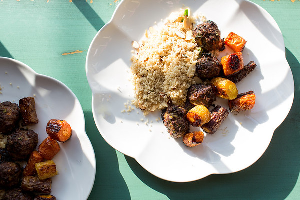 Couscous with Roasted Carrots and Spiced Meatballs