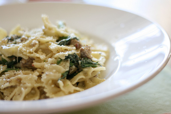 Farfalle with bitter greens and sausage
