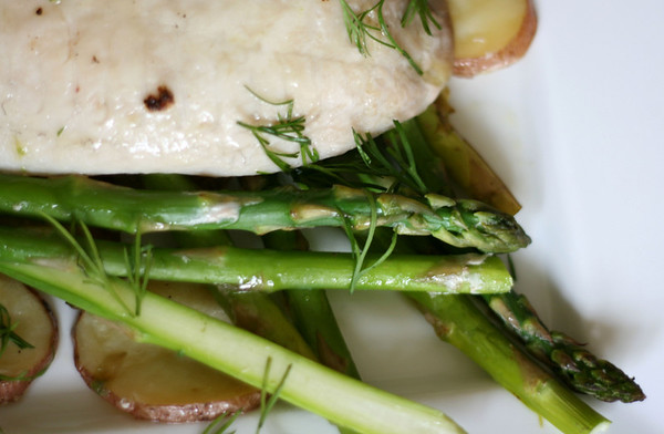 Roased Fish, Potato, Asparagus with Dill Butter