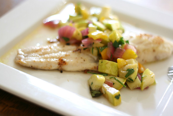 Pan-fried fish with squash salsa