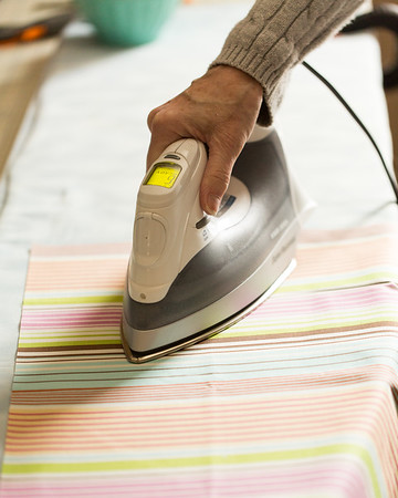 Pressing your fabric for DIY Placemat