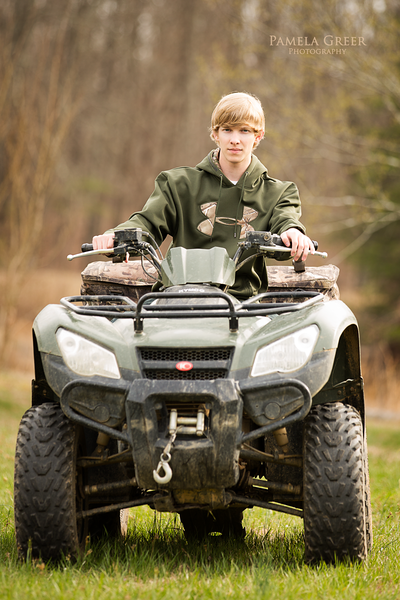 Pamela Greer Photography senior boy on ATV