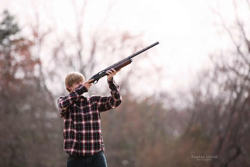 Chattanooga senior boy with hunting rifle
