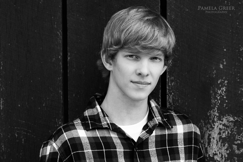 Chattanooga Senior Portrait boy in black and white
