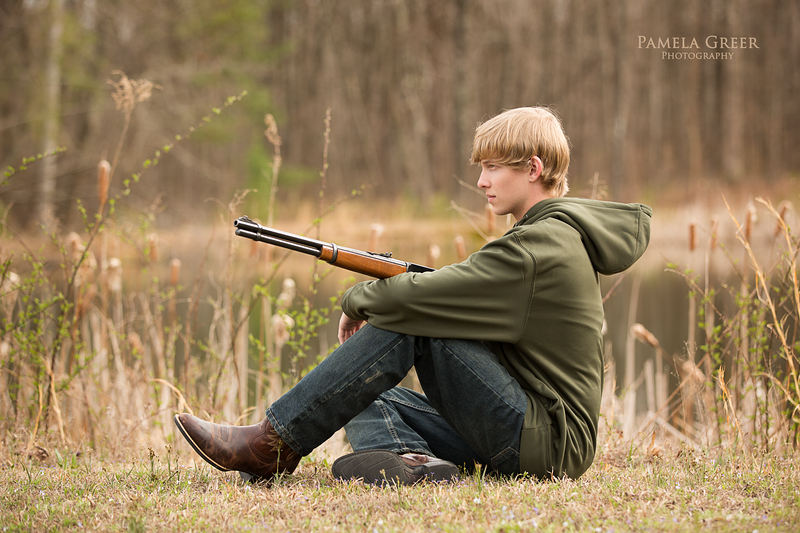 Pamela Greer Photography Senior boy with hunting rifle