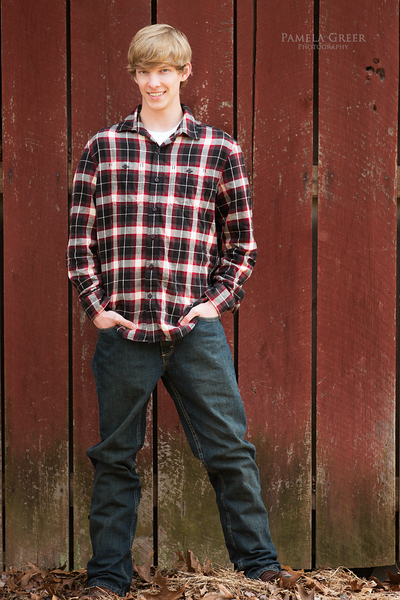 Pamela Greer Photography Senior boy in plaid shirt