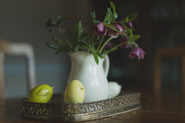 Vase of lenten rose with egg decorations