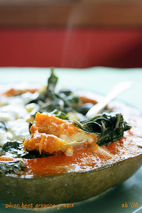 Silver Beet and Pumpkin Gruyere Gratin
