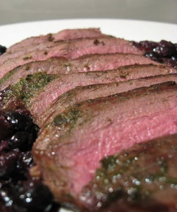 Venison with Juniper, Blueberries, and Thyme