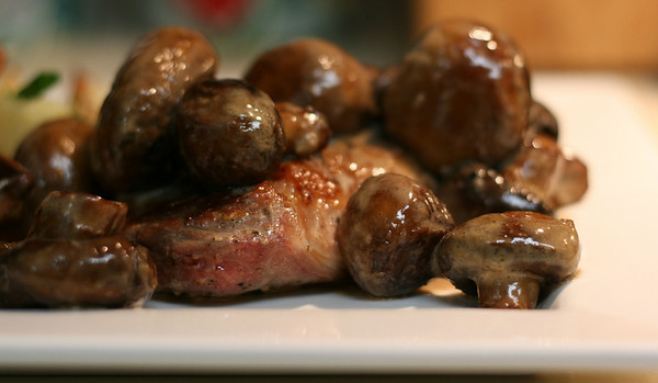 Steak with Brandied Mushrooms