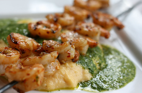 Shrimp Skewers with Cilantro Pesto