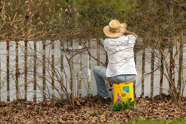 man painting picket fence