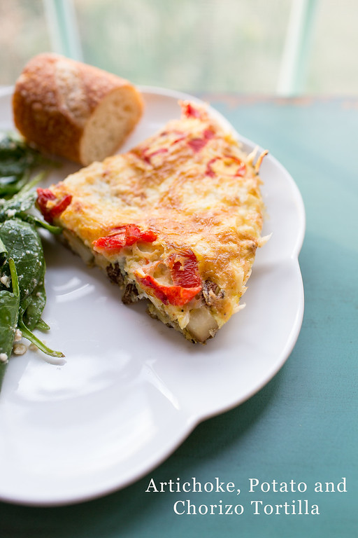Artichoke, potato and chorizo tortilla