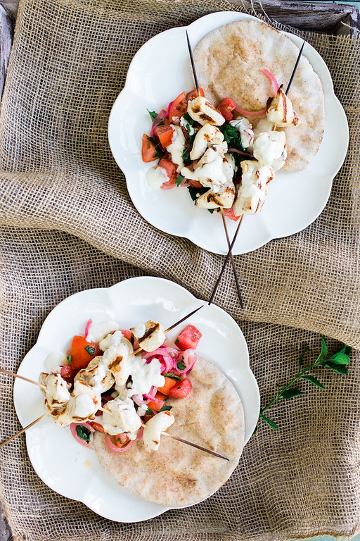 Grilled Chicken Skewers with Mint and Lemon Dressing