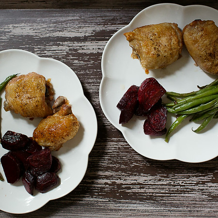 Roasted Chicken, Beets and Green Beans | Sidewalk Shoes