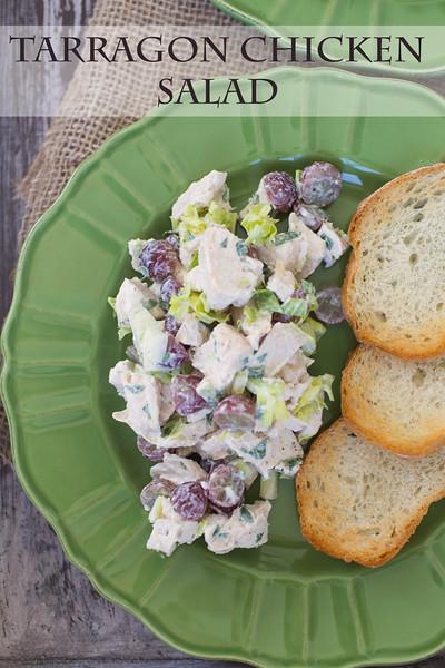 Tarragon Chicken Salad Veronique featured at Sidewalk Shoes.