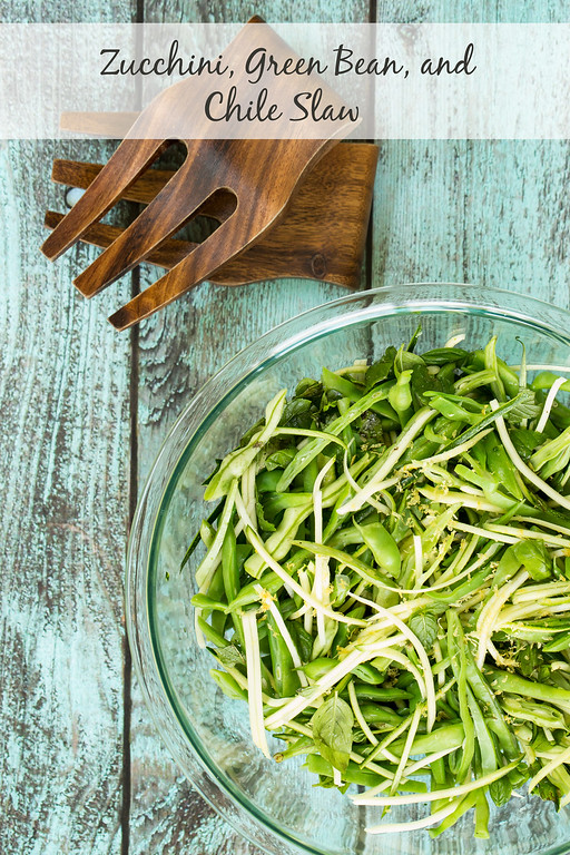 Zucchini, Green Bean and Chile Slaw - fresh zucchini, crisp tender green beans, and hot chile peppers are given even more pop with fresh mint and basil!