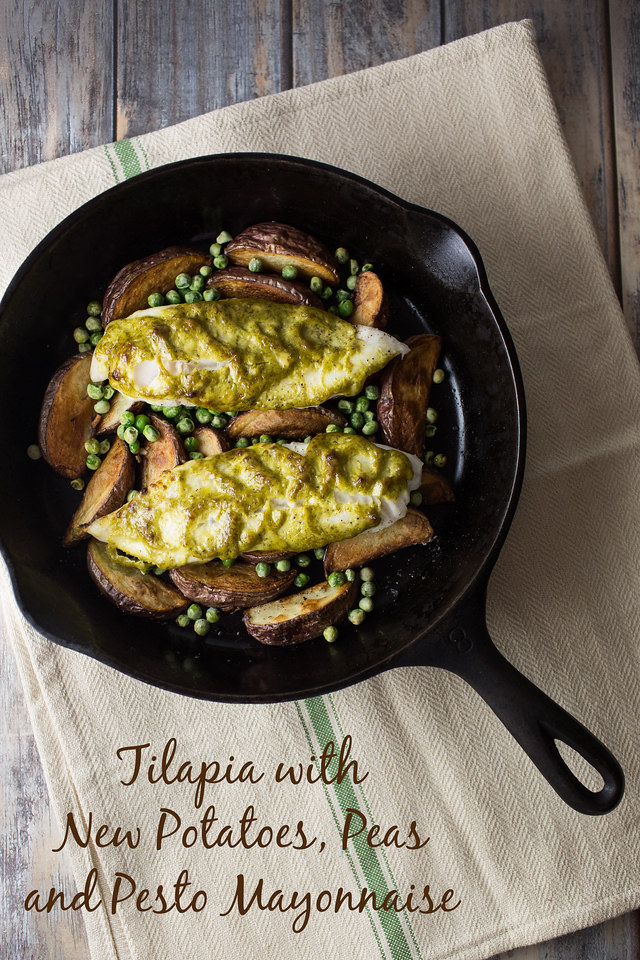 Tilapia with New Potatoes, Peas and Pesto Mayonnaise - an easy one pan meal!