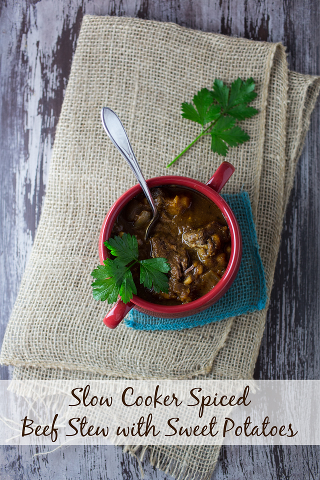 Sweet potatoes, butternut squash, and corn make this Slow Cooker Spiced Beef Stew with Sweet Potatoes extra delicious!