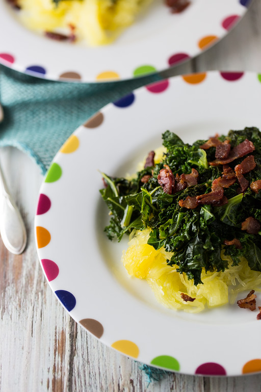 Spaghetti Squash with Kale and Bacon