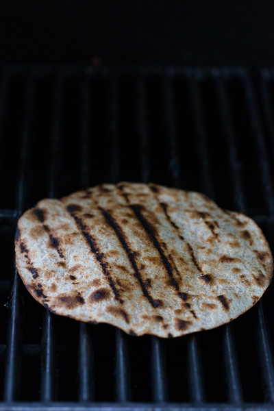Tortillas crisping on the grill