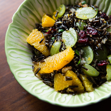 Wild Rice Salad with Grapes, Oranges and Dried Cranberries