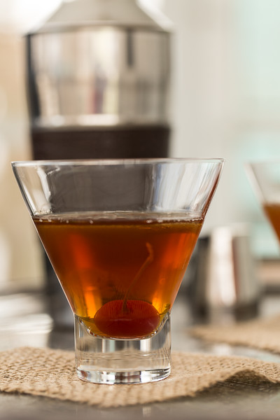 A Manhattan in Circleware stemless martini glass