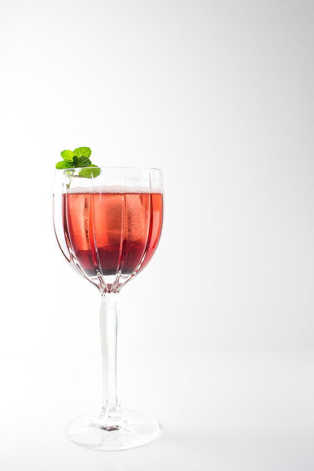 Flip to My Lou - an easy two ingredient cocktail featuring loganberry liqueur and sparkling water.