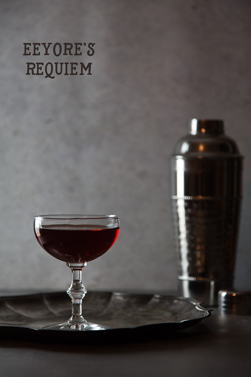 Eeyore's Requiem - a lovely complex cocktail featuring gin, orange bitters, Campari, Cynar and Fernet Blanca