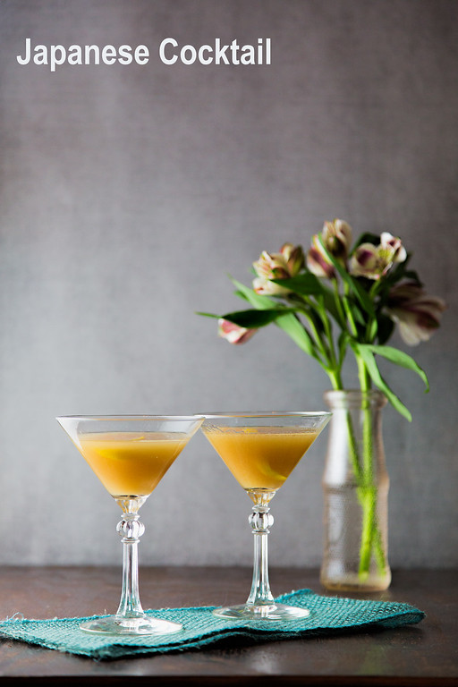 Japanese cocktail - brandy, orange bitters, and orgeat syrup make an easy and complex tasting cocktail!