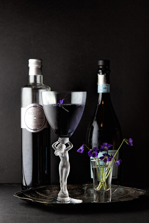 A Violette Royale - a simple cocktail featuring Crème de Violette and Prosecco