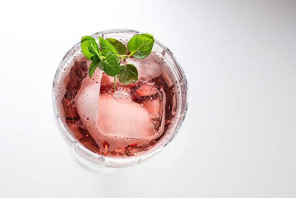 Flip to My Lou - loganberry liqueur and sparkling water.