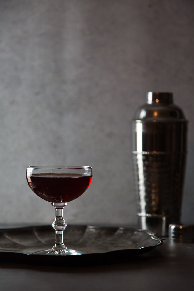Eeyore's Requiem - a cocktail featuring gin, Campari, Cynar, Orange Bitters, and Frenet Banca