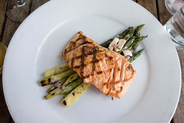 Grilled Bay of Fundy Salmon with asparagus, egg and olive vinaigrette from The Public House in Chattanooga.
