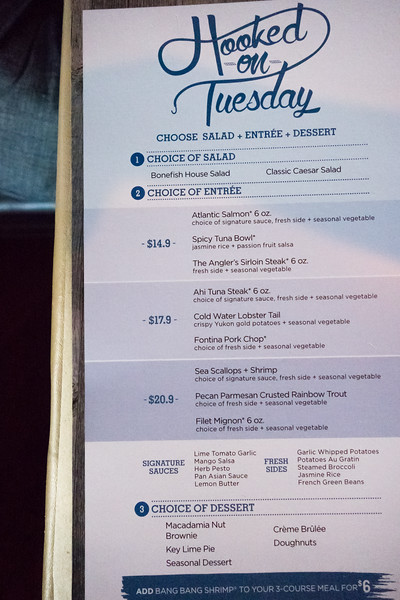 Bonefish Grill Hooked on Tuesday Menu