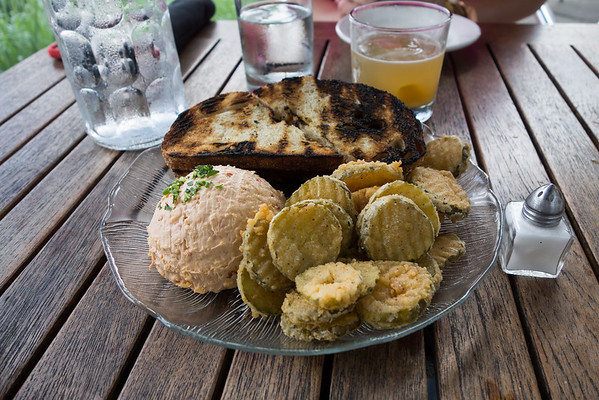 Grilled sourdough, pimento cheese, and fried pickles from The Public House in Chattanooga.