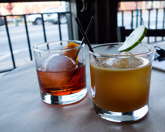 Negroni and Pimm's Cup from Beast & Barrel Dining out in Chattanooga