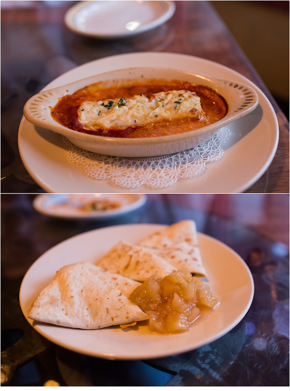 Free Range Chicken Cannelloni and Pear and Walnut Quesadilla from Terra Nostra Tapas and Wine Bar