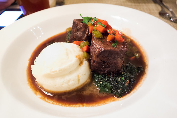 Short ribs on bed of swiss chard and mashed potatoes